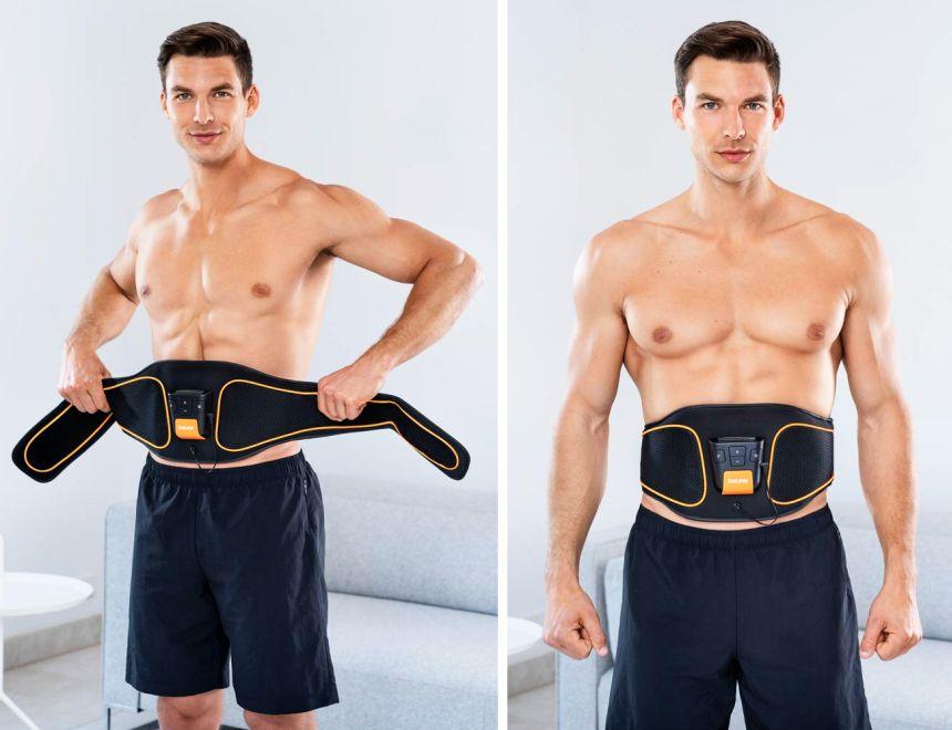 Pronta in un attimo: la cintura per elettrostimolazione addominale EMS Beurer EM 37 può essere usata comodamente a casa vostra