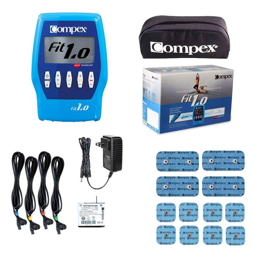 L'elettrostimolatore Compex FIT 1.0 e una panoramica di tutto quello che vi portate a casa, incluse 6 coppie di elettrodi grandi e piccoli
