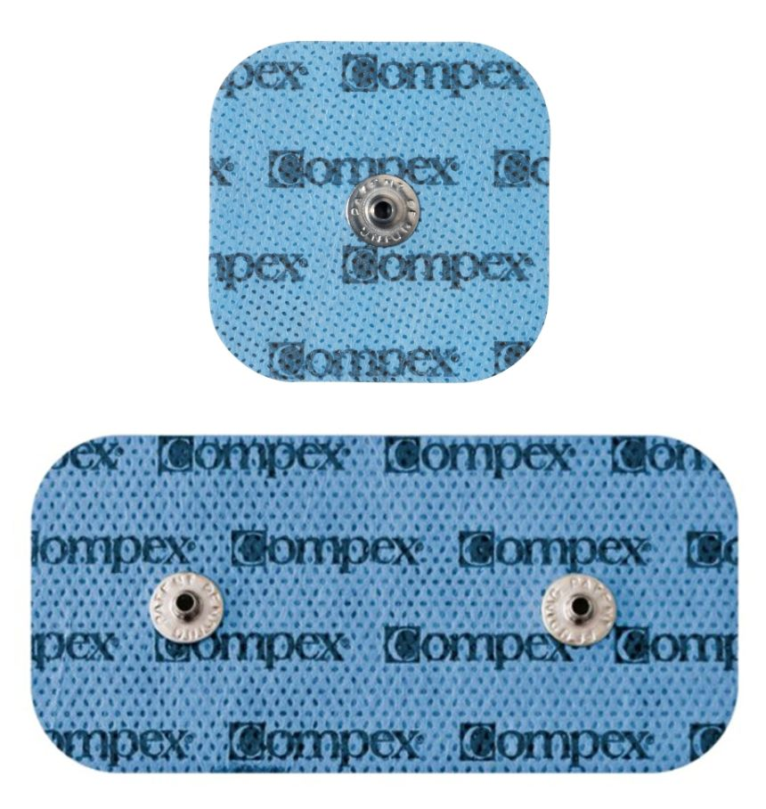 L'elettrostimolatore Compex SP 2.0 Muscle Intelligence è dotato di elettrodi Snap sia piccoli (5 x 5 cm), che grandi (10 x 5 cm)