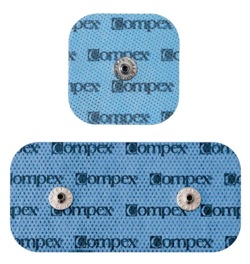 L'elettrostimolatore Compex SP 4.0 Muscle Intelligence è dotato di elettrodi Snap sia piccoli (5 x 5 cm), che grandi (10 x 5 cm)