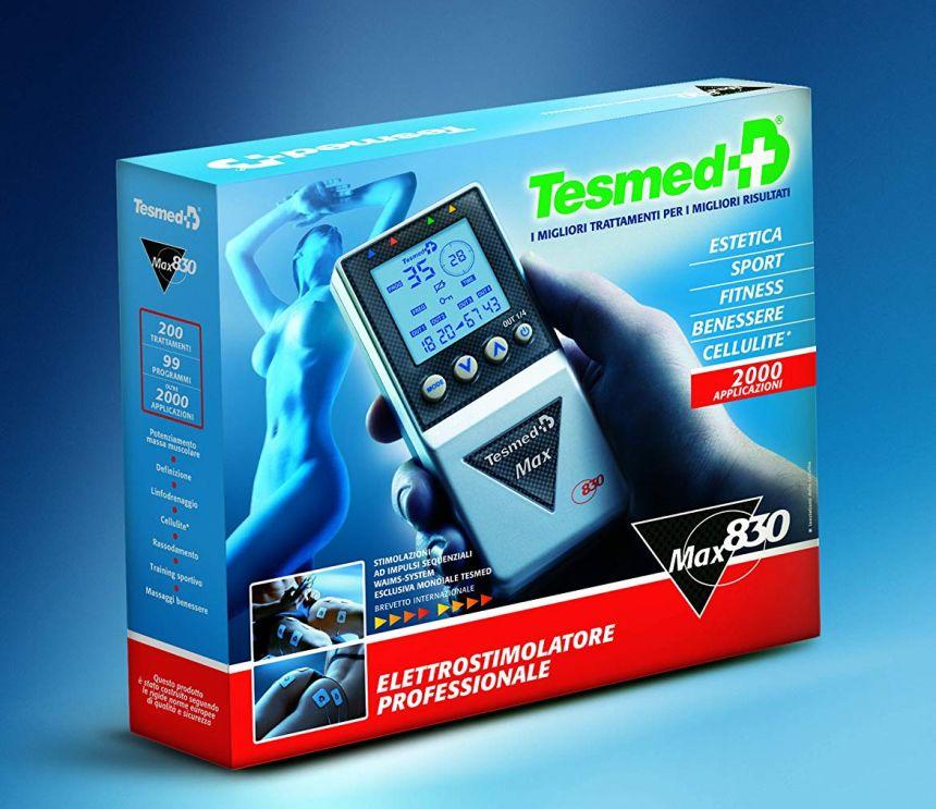 L'elettrostimolatore professionale Tesmed MAX 830 così come vi arriverà a casa, completo di tutto e subito pronto all'uso