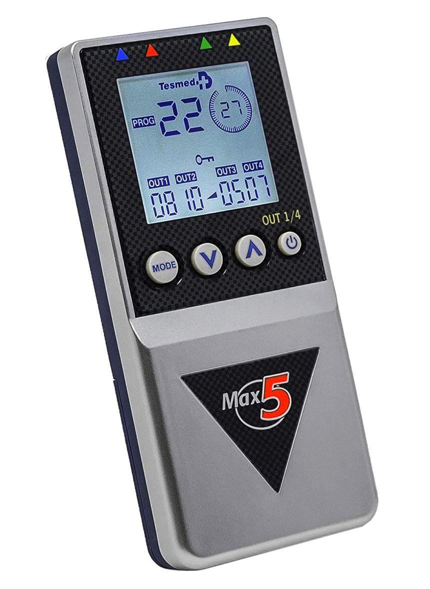 Elettrostimolatore TESMED MAX 5 a 4 canali indipendenti per tonificazione e rassodamento muscolare, con 99 programmi e 162 trattamenti