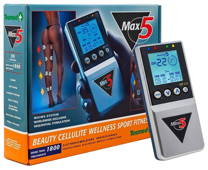 L'elettrostimolatore Tesmed MAX 5 così come vi arriverà a casa, completo di tutto e subito pronto all'uso